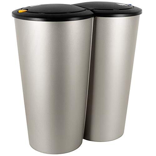 Deuba Mülleimer Duo Grau | 50L Abfalleimer Doppelmülleimer 2fach Trennsystem Druckknopf-Automatik | Küche Bad Büro