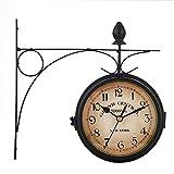 SNIIA Reloj De Pared De Estilo Europeo Vintage, Reloj De Pared De Doble Cara para Jardín Exterior - 21.8x21.8cm Valuable