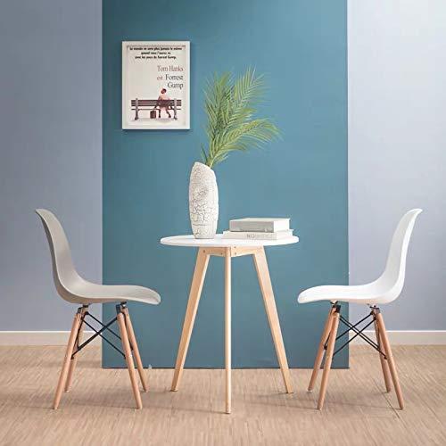 all about chair Juego de 4 sillas Modernas de plástico con Patas de Madera y Marco de Metal, Silla Cocina, Dormitorio, Oficina y Sala de Estar, Color Gris Claro