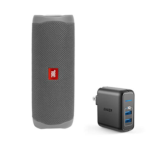 JBL Flip 5 Waterproof Portable Wireless Bluetooth Speaker Bundle with 2-Port USB Wall Charger - Gray