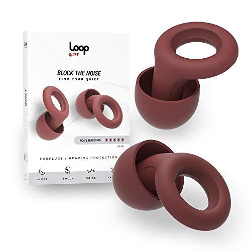 Loop Quiet - Tappi per le Orecchie Antirumore - Protezione Acustica in Flessibile Silicone + 6 Tappi di Ricambio S/M/L - Riduzione del Ruido 25dB - per Dormire, Sensibilità al Rumore - Bordeaux