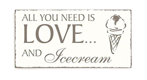 Placa decorativa « All you need is LOVE and ICE CREAM », cartel vintage para puerta, restaurante, heladería o casa.