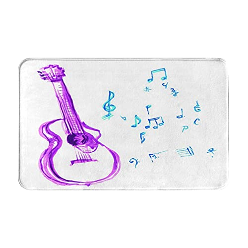 GKGYGZL Alfombras de baño Antideslizantes,Instrumento Musical de Acuarela con Elementos de Hoja de Notas Trazo de Pincel E,Alfombra de baño de Felpa Lavable Extra Suave Alfombras de baño de Ducha