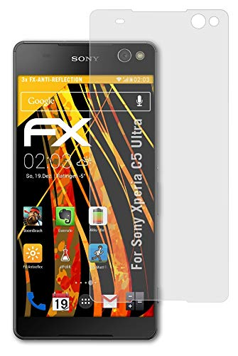atFolix Panzerfolie kompatibel mit Sony Xperia C5 Ultra Schutzfolie, entspiegelnde & stoßdämpfende FX Folie (3X)