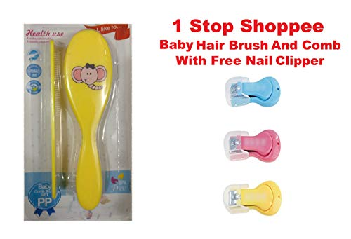 Nonu Baby Hair Brush and Comb with Nail Clipper (Multicolour)