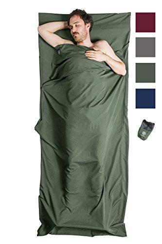 Bahidora Hüttenschlafsack aus Mikrofaser, Schlafsack Inlett, Schlafsack Inlay, Reiseschlafsack. Ideal für Hostels, Berghütten und Jugendherbergen (olivgrün)