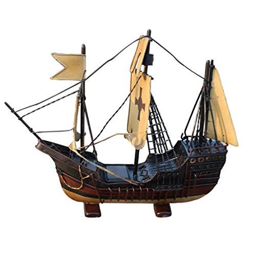 1yess -Pirat Schiff Schmiedeeisen Segelschiff Modell Vintage Handgemachte Segelboot Modell Nautische Dekor Beach Party und Raumdekoration 8bayfa