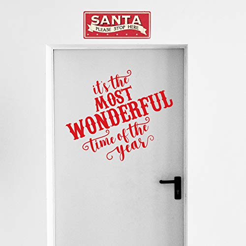 Vinyl Wall Art Decal - Its The Most Wonderful Time of The Year - 23 x 27 - Christmas Seasonal Holiday Sticker - Indoor Outdoor Home Office Wall Window Bedroom Workplace Decals (Red)