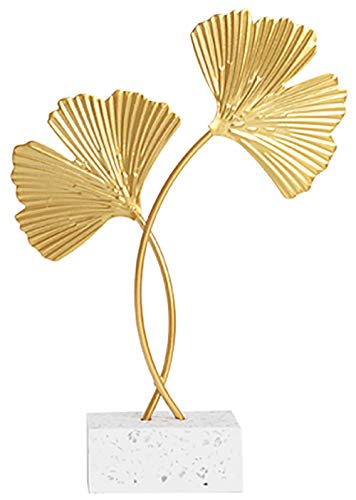 Miystn Ginkgo Biloba Adornos Decorativos, Adornos para el Hogar, Adornos de Escritorio para Escritorio, Salón, Dormitorio, Decoración Hecha a Mano (1 Pieza, Dorado)