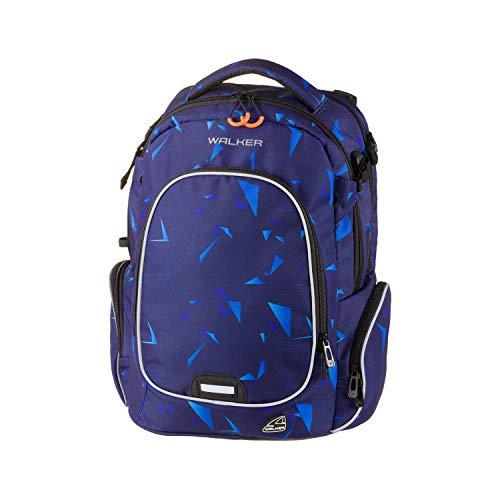 Walker 42117-134 - Rucksack Campus Evo Wizzard Laser Blue, mit 3 Fächern, Laptopfach, Seitentaschen, atmungsaktive Polster, verstellbarem Hüft-, Schulter- und Brustgurt, ca. 32 x 46 x 23 cm