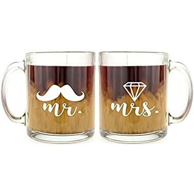 Mr and Mrs - Glass Coffee Mug Set - Makes a Great Gift for Couples!