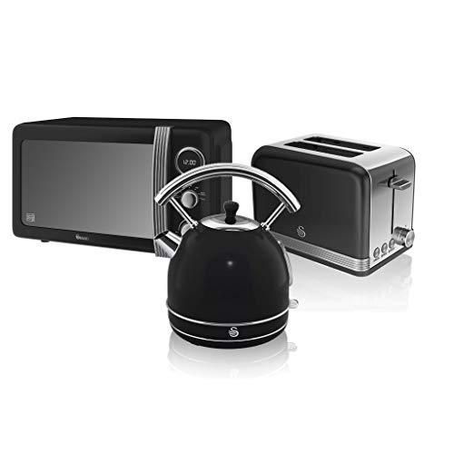 Swan, Retro Kitchen Bundle, 1.7L Dome Kettle, 2 Slice Toaster and 800W Digital Microwave, (Black)