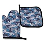 XCNGG Guantes para microondas Military Camo Oven Mitts Pot Holders Set Heat Resistant Kitchen Waterproof with Inner Cotton Layer for Cooking BBQ Baking