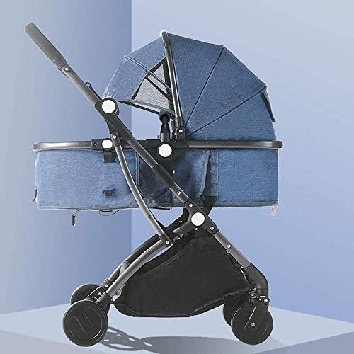 Landaus Poussette Transport Pliable bébé Poussette Anti-Shock Ressorts High View Poussette bébé Baby Basket Fournitures pour bébé ( Color : Blue )