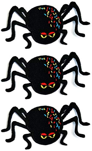 ONCEX 3PCS. Cute Black Spider Garden Insect Bug Patches Embroidered Applique Iron on Patch Embroidery Sewing for Backpacks Jeans Jackets T-Shirt Hat Clothing