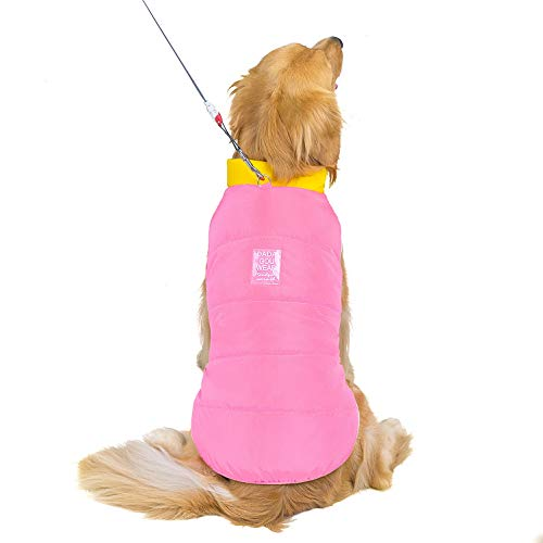 SELMAI Extra Large Dogs Puffer Coat Winter Warm Fleece Lined Pet Clothing Down Jacket Windproof Snowsuit for French Bulldogs Dog Alpine Ski Parka Vest Snaps Design Playing Outdoor Sport Pink 3XL