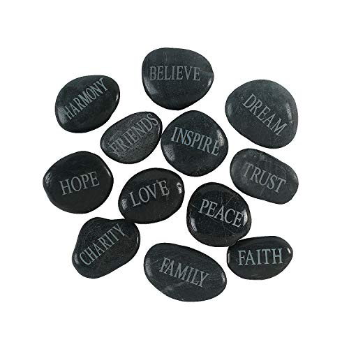 Fun Express Faith Stones with Inspirational Words Like Love, Hope and Trust (Set of 12) Religious Home Decor