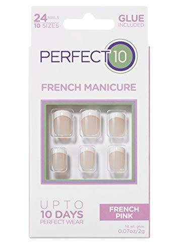 Perfect 10, Uñas Postizas, Manicura Francesa Rosa - Pack de 24 Uñas, 10 Tamaños