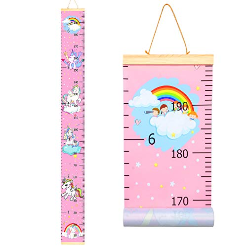 """Sylfairy Growth Chart, Kids Wall Ruler Removable Height Measure Chart for Boys Girls Growth Ruler Unicorn Wall Room Decoration 79"""" x 7.9""""(Pink Unicorn)"""