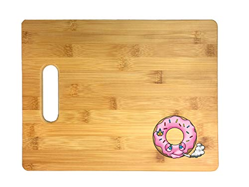 Pot Smoking Pals Rainbow Sprinkled Pink Frosted Breakfast Donut 3D COLOR Printed Bamboo Cutting Board - Wedding, Housewarming, Anniversary, Birthday, Mother's Day, Gift