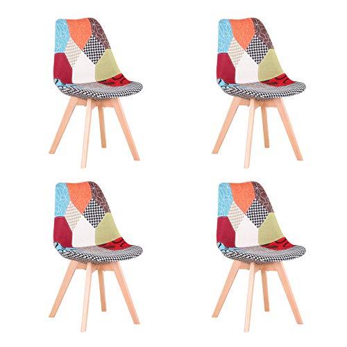 4er Set stühle Esszimmerstühle mit Massivholz Buche Bein, Retro Design Gepolsterter Stuhl Küchenstuhl Holz (rotes Tuch)