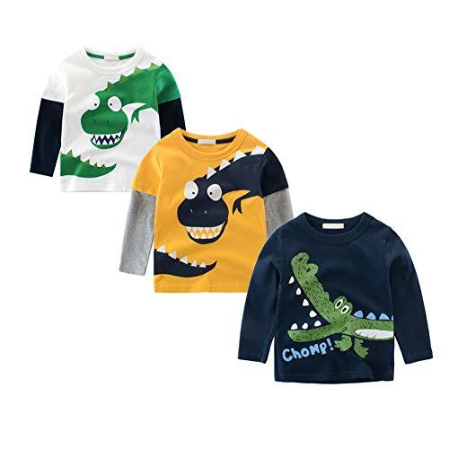 BOBORA T-Shirt Garçon, Pull-Over T-Shirts à Manches Longues Dinosaures en Coton Blouson pour Bébé Filles Garçons Enfants 1-10Ans (4-5 Ans, 3Pack)