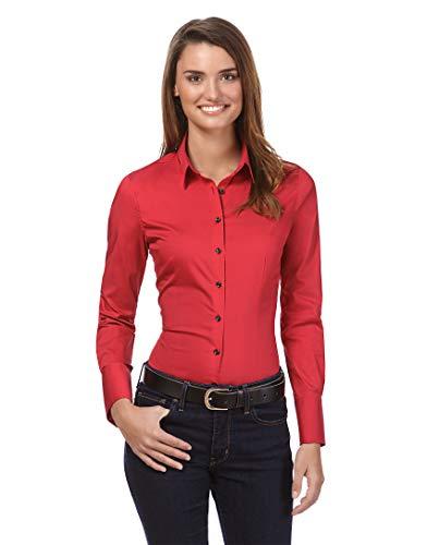 Vincenzo Boretti Damen Bluse besonders tailliert mit Stretch Langarm Hemdbluse elegant festlich Kent-Kragen auch für Business und unter Pullover rot 38