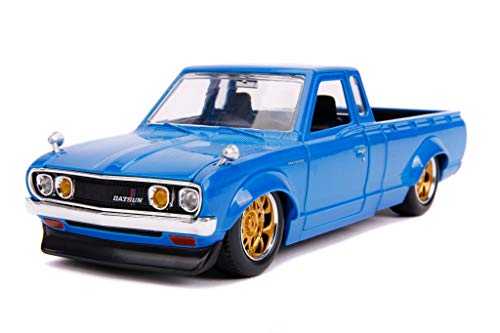 Datsun Pickup Truck Bright Blue with Gold Wheels JDM Tuners 1/24 Diecast Model Car by Jada 31603