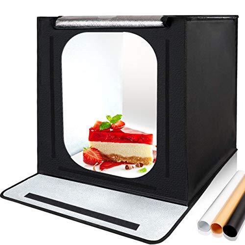 Orthland Fotobox 40x40cm, Lichtzelt Tragbare Fotozelt Faltbare Fotografie Fotostudio mit Zwei 3000k-6500k 56 LED Beleuchtung und 3 Hintergründe (Weiß,...