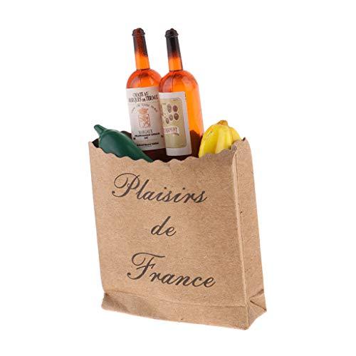 freneci Casa de Muñecas en Miniatura Kraft Bolsa de Compras de Comestibles 1/12 Adorno de Supermercado