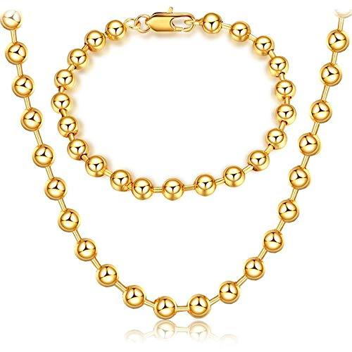 Gespout Gold Necklace Set Luxury Jewelry Set Beaded Necklace Vintage Necklace Exaggerated Necklace Metal Chain Ms. Necklace for Wedding Party Tour (Necklace+Bracelet)