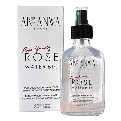 Echtes Bio Rosenwasser Spray mit Rosenquarz Kristallen - ARI ANWA Skincare® - 100% Reines & Natürliches Rosenwasser Gesichtswasser in Glasflaschen - Echtes Rosenwasser Gesichtsspray