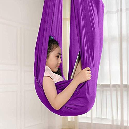ZHL Columpio de terapia ajustable para interiores para niños o adultos sensoriales para acurrucarse con necesidades especiales tiene efecto calmante en el niño (color: morado, tamaño: 150 x 280 cm)