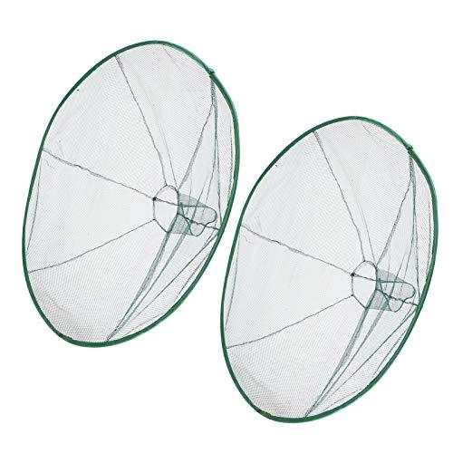 2 Stück Fischgarnelen Krebse Köder gegossenes Netz, kreisförmig ziehbar faltbar Fischernetz 80cm hochfestes Nylongewebe schwimmender Garnelenkäfig