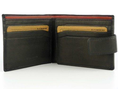 Heren heren top kwaliteit zwart lederen portemonnee met verandering sectie, door BLOOMSBURY geleverd in GIFT BOX