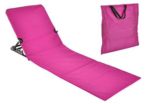 Spetebo Strandmatte faltbar mit Rückenlehne - pink - Sonnenliege Strand Liege Matte Gartenliege