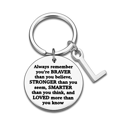 LZHLMCL Wife Key Ring Chain Giftengrave Car Keychain Key Rings Men Women Inspirational Gift Always Remember You Are Braver Than You Believe L