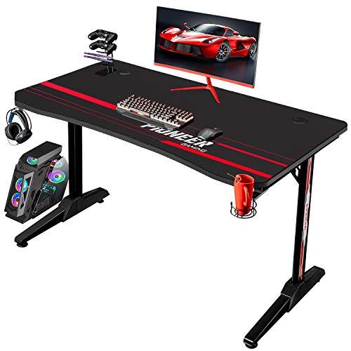 Flamaker Gaming Desk 44 Inch Gaming Table Computer Desk Gamer Table T Shape Game Station with Large Carbon Fiber Surface, Cup Holder & Headphone (Black)