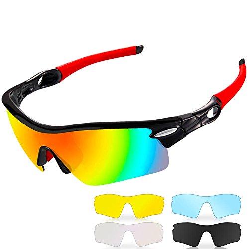 Occhiali da Sole Sportivi Polarizzati,CrazyFire Anti-UV 400 Protezione Ciclismo Occhiali da Sole con 5 Lenti Intercambiabili,Uomo e Donna Antivento Aviatore Specchio per MTB,Bici,Moto,Trekking Casual