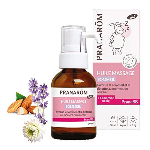 Pranarôm | PranaBB | Huile de Massage Sommeil Paisible | Favorise le sommeil et la détente au moment du coucher | Lavande Vraie et Camomille Noble | BIO | 30 ml