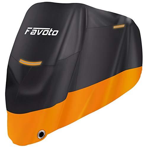 Favoto Telo Coprimoto 210D Teli per Moto Scooter Impermeabile Resistente ad Acqua/Polvere/Pioggia/Vento/Foglie, Copertura Motociclo [Versione Migliorata] (XL)