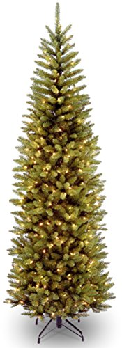 National Tree 7 Foot Kingswood Fir Pencil Tree with 250 Dual Color LED Lights with PowerConnect System, Hinged (KW7-D50-70), 7 ft