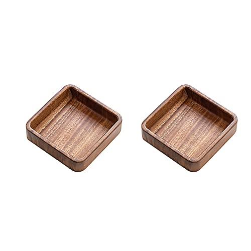 zhaohupinpai Vajilla creativa de estilo japonés de 2 piezas, plato de nogal sudamericano, cuenco redondo apilable de madera maciza, bandeja de madera para servicio de postres y refrigerios, fácil de l