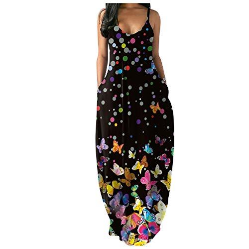 Damen Sommerkleid Mode Elegantes Unterhemd Kleid Sommer Polk Dot Floral Butterfly Print Abendkleider Sling Ärmelloses Cocktailkleid mit Tasche Lockeres Bodenlanges Maxikleid(XL,Schwarz)