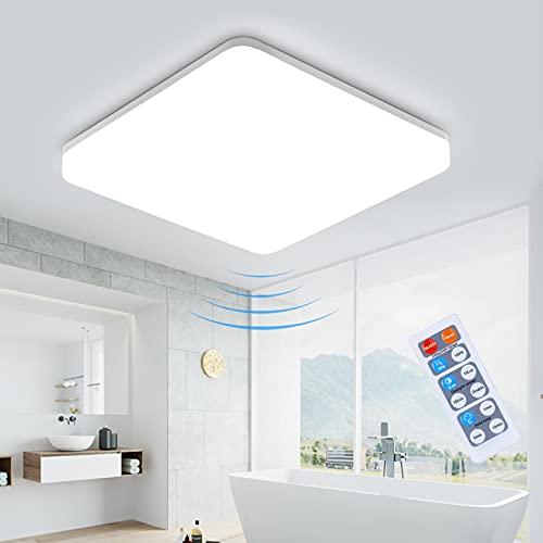 LEOEU - Lámpara LED de techo con detector de movimiento, 18 W, 1800 lm, ajustable con mando a distancia, IP54, resistente al agua, para garaje, escaleras, baño, sótano, pasillo, balcón, 4000 K