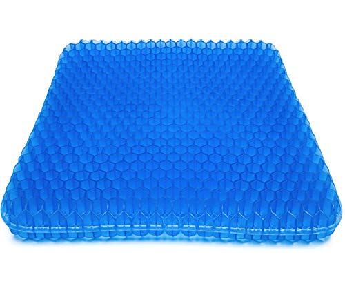 Gel Seat Cushion, Double Thick Seat Cushion Honeycomb Design Cushion with Non-Slip Mesh Seat Cover for Pressure Relief Back Pain -Home Office Chair Car Wheelchair (Bigger size(17.32in17.32in1.57in))