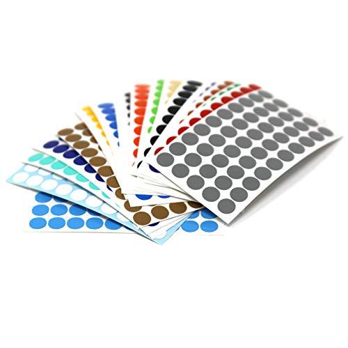 900 Kreise in 5mm 50 Kreise von jeder Farbe Klebepunkte Punkt Aufkleber Inventur Kreise Folie K020