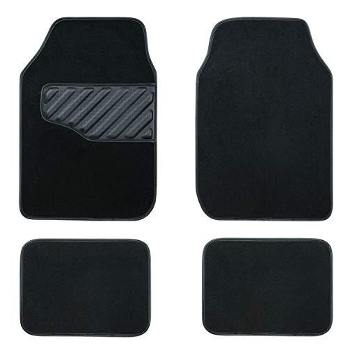 CAR PASS Waterproof Universal Fit Capet Car Floor Mats with Carbon Fiber Heel pad,Fit for Suvs,Sedans,Vans,Trucks,Set of 4,Classical Black