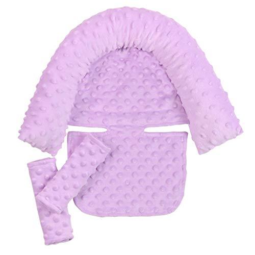KEXIJIA Cojín de apoyo para asiento de coche para bebé recién nacido cojín para bebé para asiento de coche, Almohada suave de apoyo para la cabeza y el cuello y funda para cinturón de seguridad