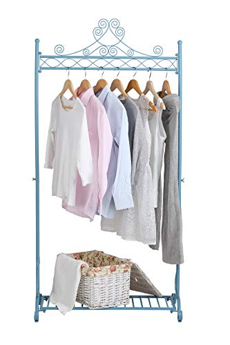 NEUN WELTEN Kleiderständer Vintage Kleiderstange Garderobenständer mit Schuhablage aus Metall 80 x 40 x 163 cm (Blau)